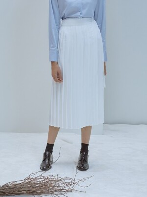 F PLEATS WRAP SKIRT_WH