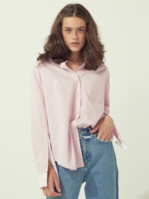 OVERSIZED COTTON SHIRTS BLUE/PINK