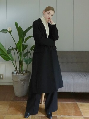 HANDMADE STITCH LONG COAT_BLACK