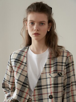 natural check jacket -limited fabric_natural check