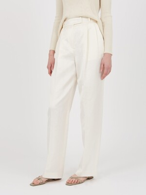 WILLOW LINEN BLEND WIDE PANTS, WHITE