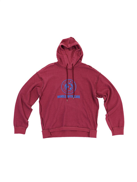 Burgundy 'Handle With Care' Inside-Out Hoodie (Genderless)