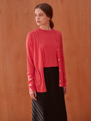 BASIC CASHMERE CARDIGAN (CORAL PINK)
