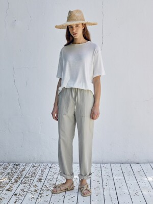 Linen String Pants(Green gray)