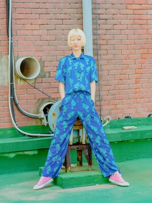 TIGER FLUID PANTS_BLUE