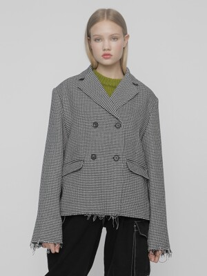 [UNISEX]R HOUNDSTOOTH CHECK JACKET