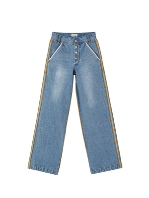 RAW-CUT WIDE DENIM JEANS apa279w(BLUE)