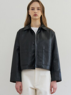 comos'243 one-button leather  short jacket (black)