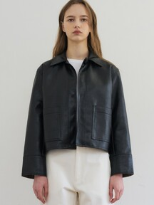 [단독] comos'243 one-button leather short jacket (2colors)