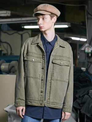 STONE BIG POCKET TURCKER JACKET (KIGHT KHAKI)
