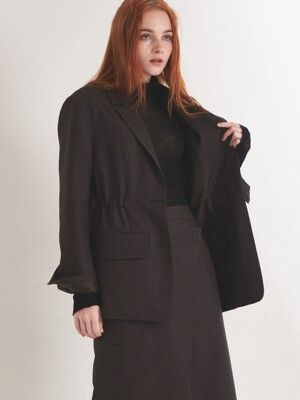 WOOL STRING JACKET_DARK BROWN