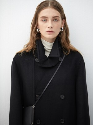 BLACK wool long peacoat(KJ012)