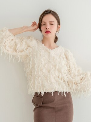 Fleece Feather Cardigan