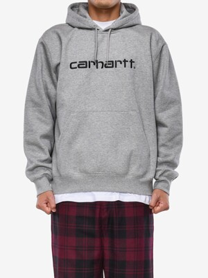 HOODED CARHARTT SWEATSHIRT_GREY HEATHER/BLACK