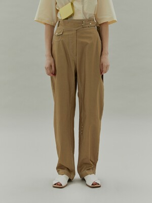 20SS SNAP BELT PANTS - MUSTARD
