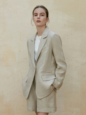 linen single jacket (beige)