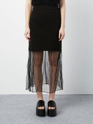R MESH LAYERED SKIRT