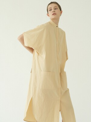 volume sleeves shirt onepiece (light yellow)