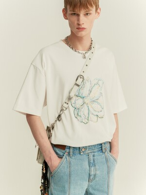 UNISEX SUMMER FLEUR EMBROIDERY T-SHIRT atb506u(WHITE)