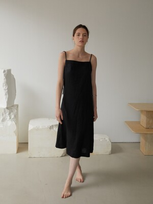 JADE LINEN DRESS (BLACK)