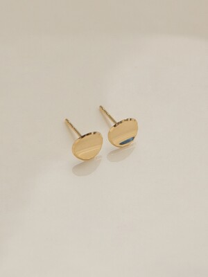 14k gold round button earrings (14K 골드)