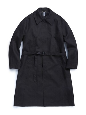 BELTED SINGLE COAT / BLACK