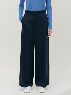 Semi Wide Satin Pants - Navy (KE0821M04R)