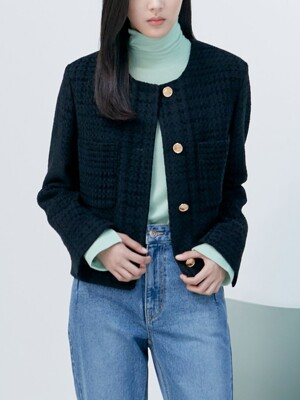 Crop Tweed Jacket - Black (KE0911M025)