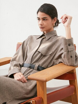 BELTED WOOL TRENCH SHIRT DRESS in Brown [U0W0O602/74]