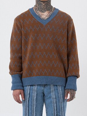 ZIGZAG TURN UP KNIT (BROWN)