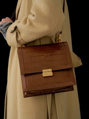 Brick square bag (Croc brown)