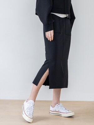 H Line Pocke  Slit Cutting Skirts_2colors