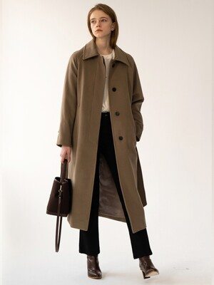 [FW20 ESSENTIAL] 캐시미어 Cashmere Single Coat Wood-brown