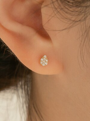 14k gold CZ mini waterdrop piercing (14k 골드)(바두께1mm)
