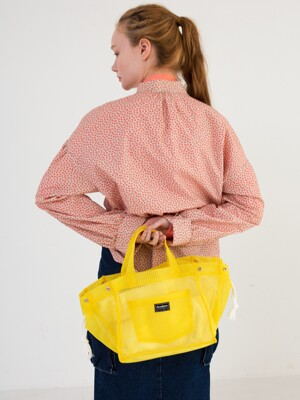 Fisher Check Tote Bag [White,Pink,Yellow]