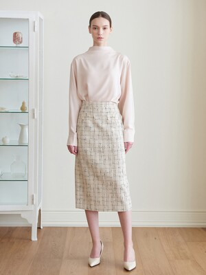 Suzan Tweed H-line Skirt_ivory