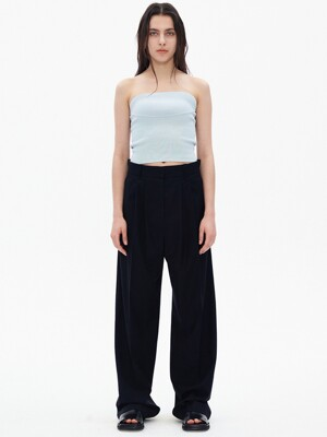 WOOL TUCK PANTS, BLACK NAVY