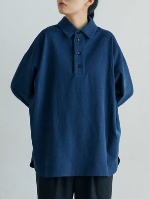 unisex cotton henly neck shirts indigo