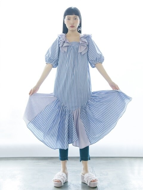 Multi-stripe Ruffle Dress(TDSOP61)