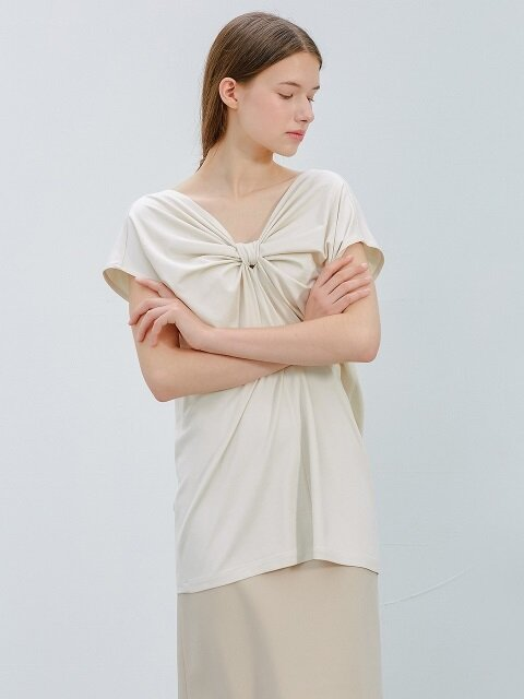 shirring t-beige