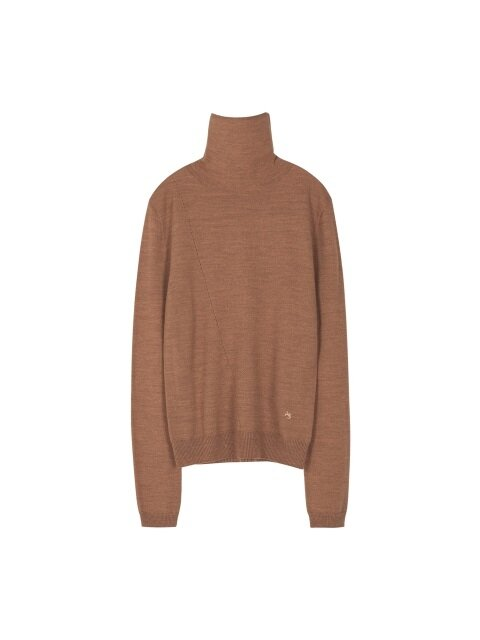 MARIA FITTED TURTLENECK SWEATER atb233w(PEACH BROWN)