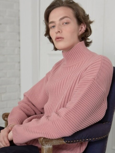 solid 1/2 turtleneck _DULL PINK