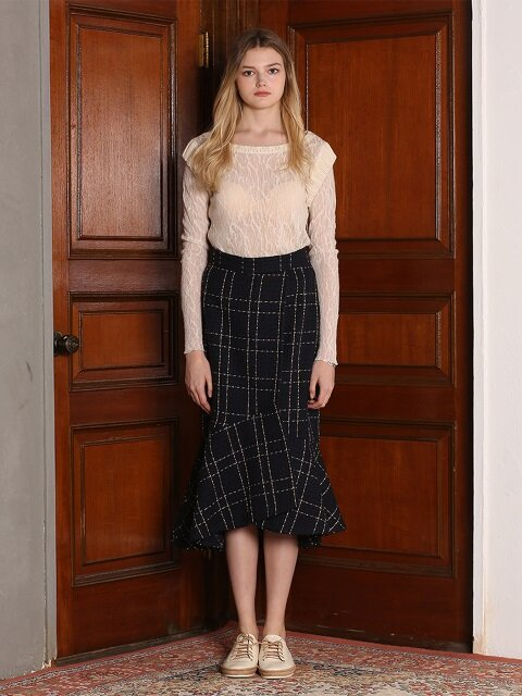 TWEED MERMAID MIDI SKIRT [NAVY]
