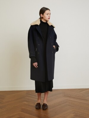 18 Winter_Classic Navy Herringbone Long Peacoat
