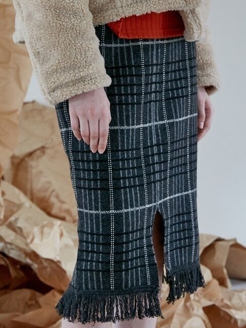 comos'100 check slit wool knit skirt (grey)