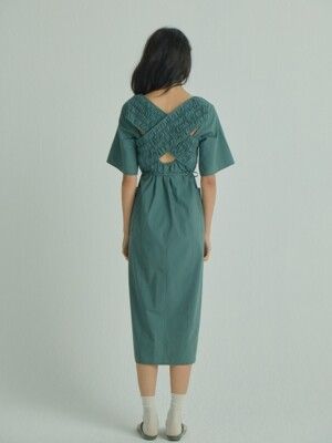 X U layered Dress_Dark Green