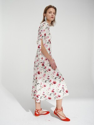 SLIT SLEEVE MAXI DRESS FLOWER