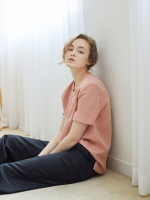 CREWNECK TEE BLOUSE / DUSTY PINK