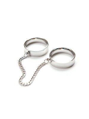 DOUBLE LOGO RING SILVER