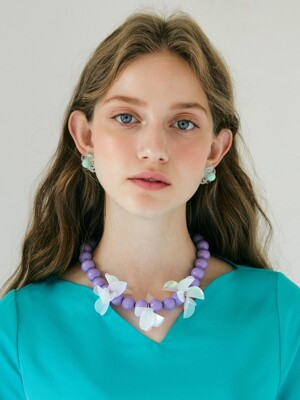 Spangle Flower Necklace _ Violet